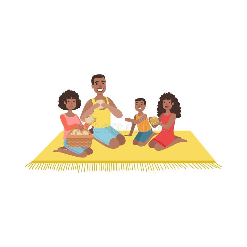 Familie mit zwei Kindern auf Picknick lizenzfreie abbildung