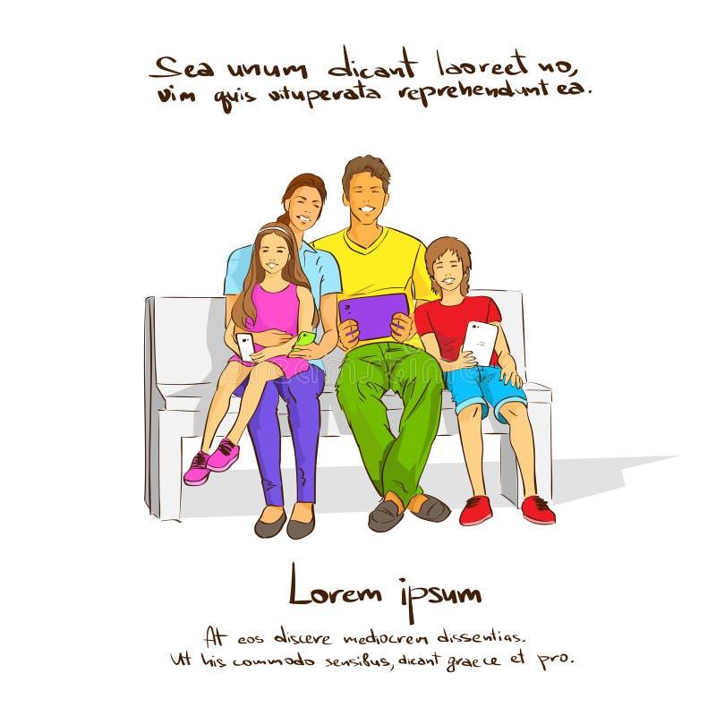 Familie mit zwei Kindern, die auf der Bank, halten sitzen stock abbildung