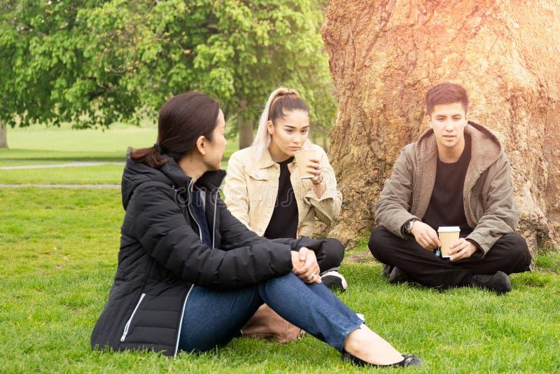 Familie mit zwei Kindern, die den Kaffee sitzt auf dem Gras plaudert im Park trinken stockfotografie