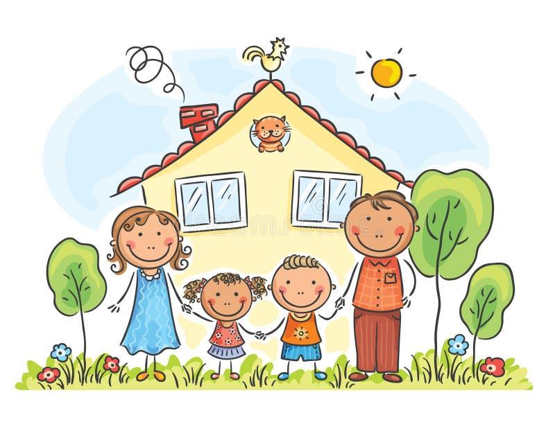 Familie mit zwei Kindern nahe ihrem Haus, Karikaturgraphiken lizenzfreie abbildung