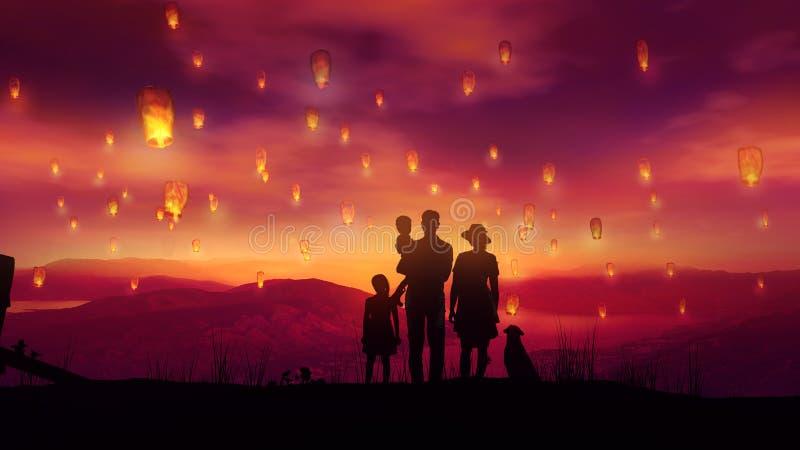 Familie mit zwei Kindern und einem Hund unter dem Fliegen von chinesischen Laternen bei Sonnenuntergang stockfotos