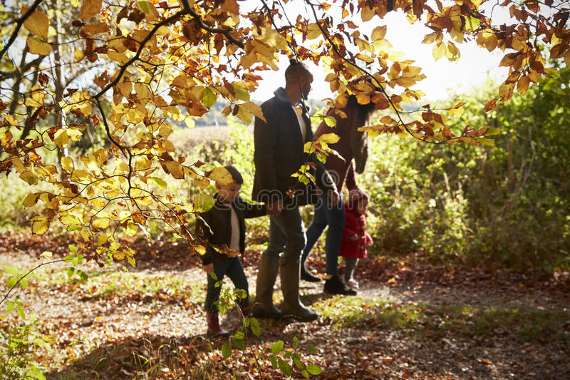 Familie op Autumn Walk In Woodland Together royalty-vrije stock foto's