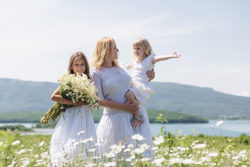 Familie op bloemgebied royalty-vrije stock afbeelding