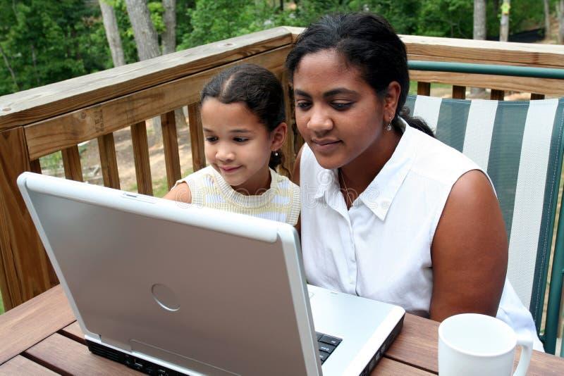 Familie op Computer stock fotografie