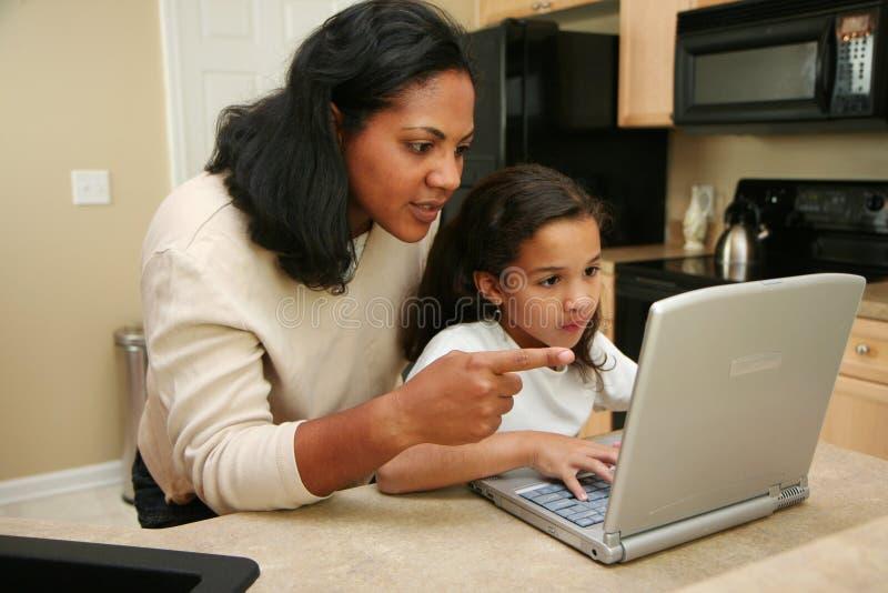 Familie op Computer stock foto's