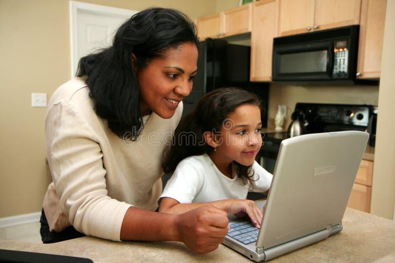 Familie op Computer stock afbeelding