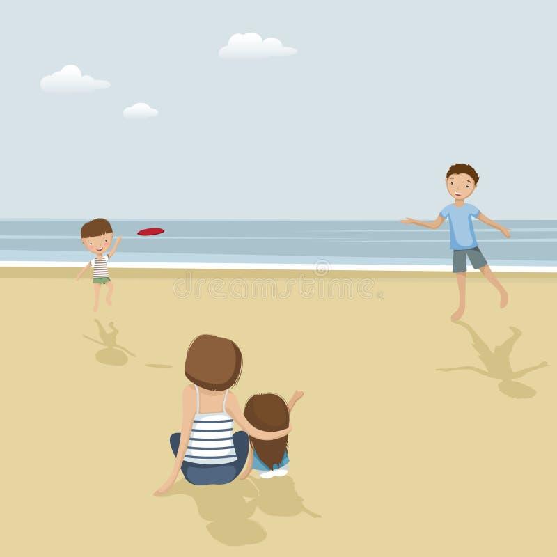 Familie op een strand stock afbeeldingen
