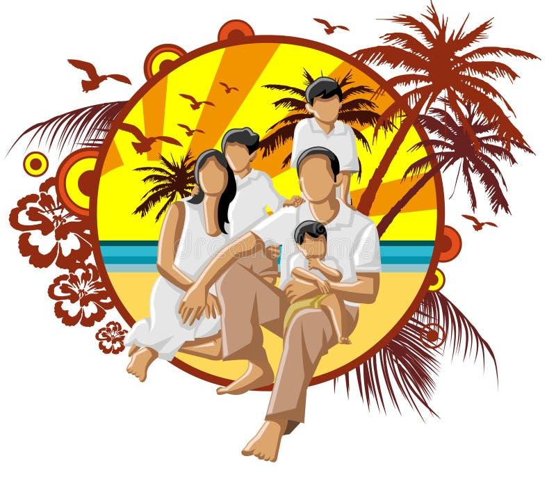 Familie op het Strand vector illustratie