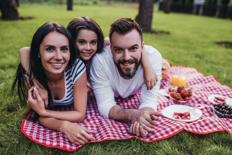 Familie op picknick royalty-vrije stock foto's