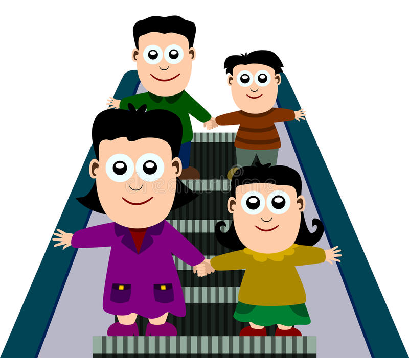 Familie op roltrap royalty-vrije illustratie