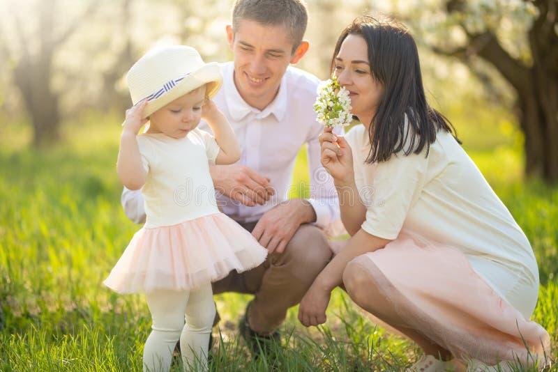 Familie op vakantie in het park, de zon, een prettige stemming van de de zomerlente Het ontspannen in de het park en het lopen ra royalty-vrije stock afbeeldingen