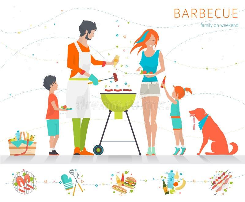 Familie op weekend vector illustratie