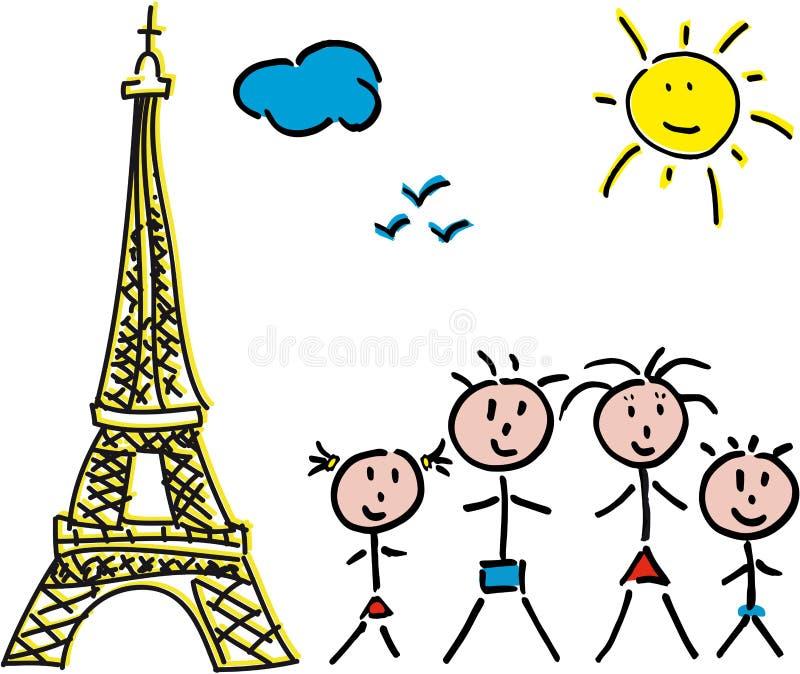 Familie Paris Eiffel stockfotografie