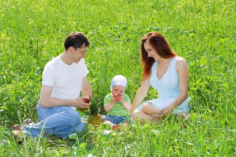 Familie am Picknick stockfoto