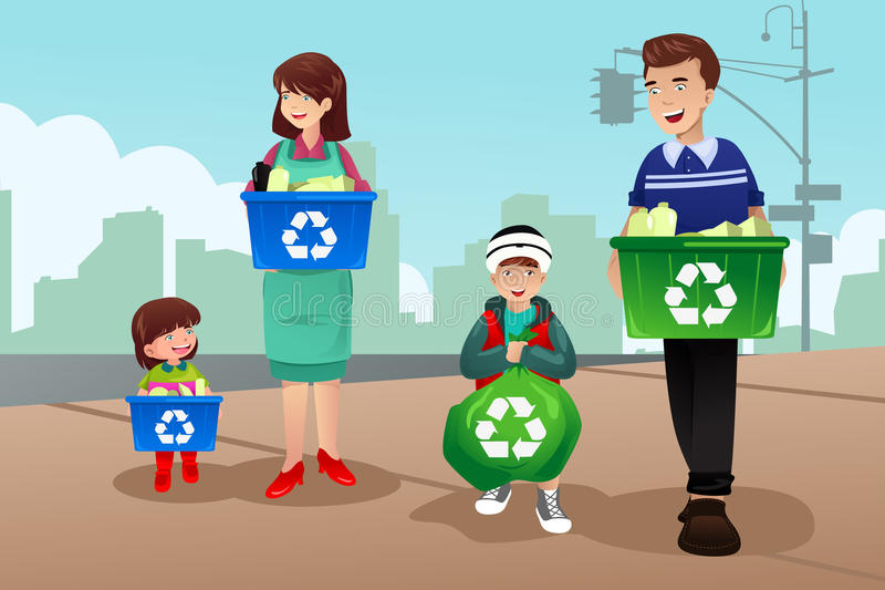 Familie recycling vector illustratie