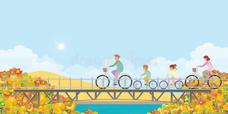 Familie rijdt op fietsen op de brug in het najaar vector illustratie