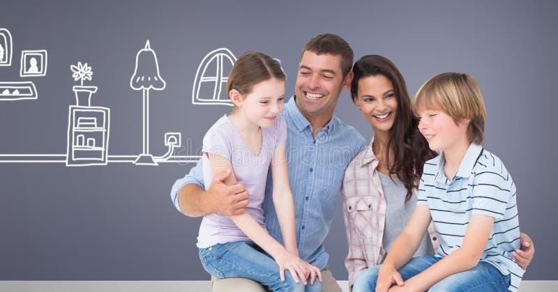 Familie samen met huistekening stock foto