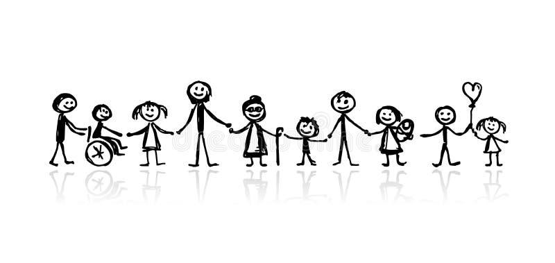 Familie samen, schets voor uw ontwerp stock illustratie