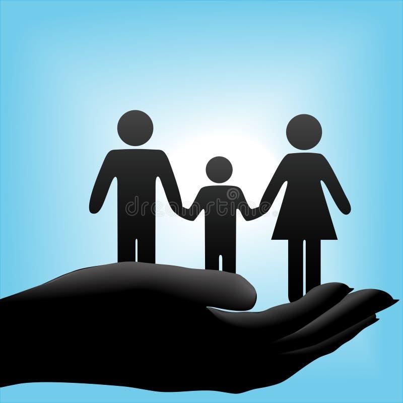 Familie in schalenförmiger Hand auf blauem Hintergrund lizenzfreie abbildung