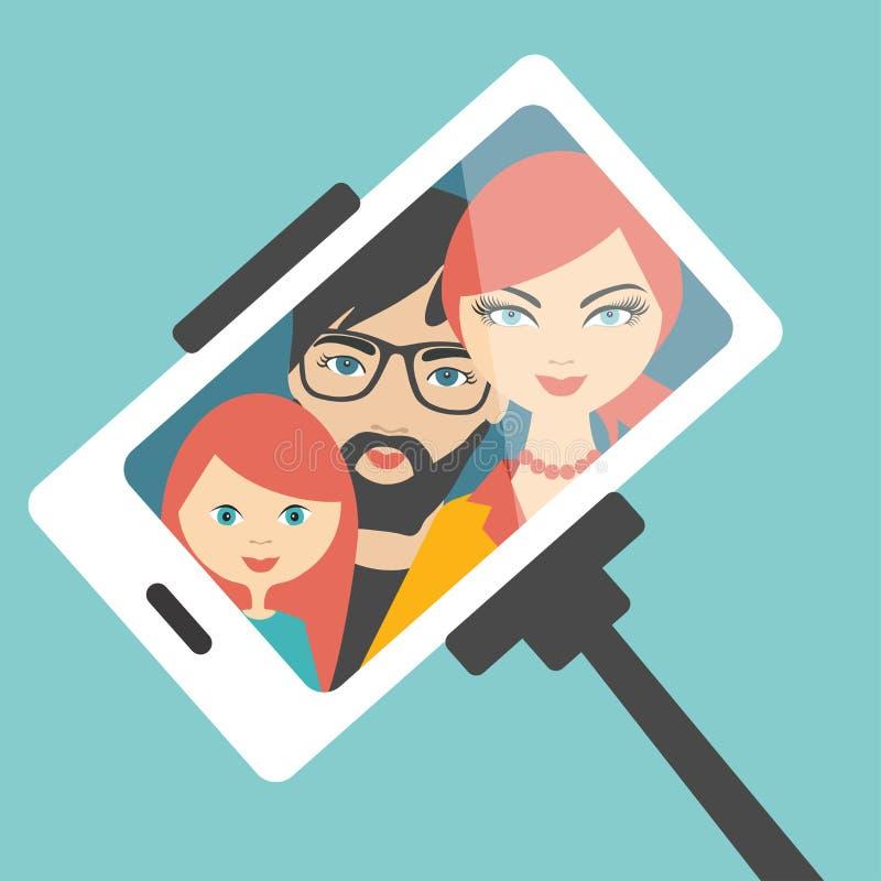 Familie selfie foto royalty-vrije illustratie