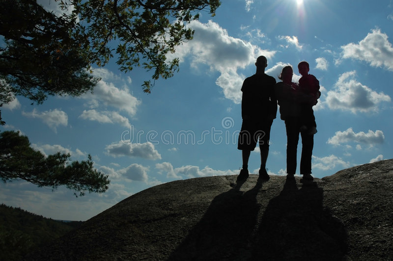 Familie in Silhouet stock afbeelding
