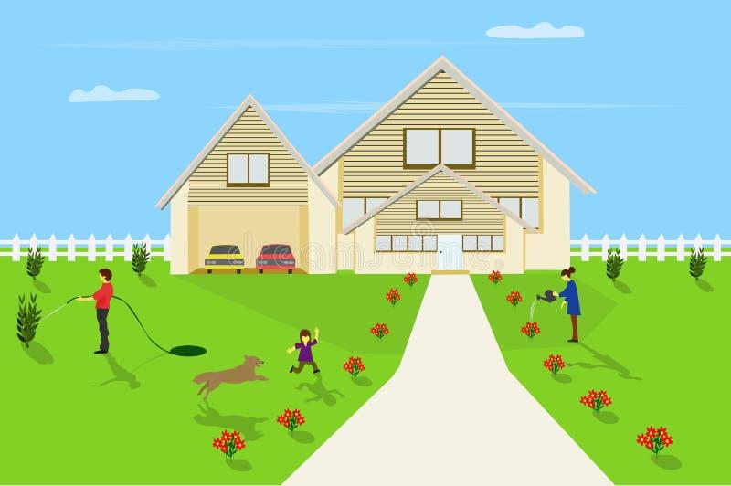 Familie sind im Vorgarten mit weißem Zaun umgab Hintergrund des blauen Himmels glücklich lizenzfreie abbildung