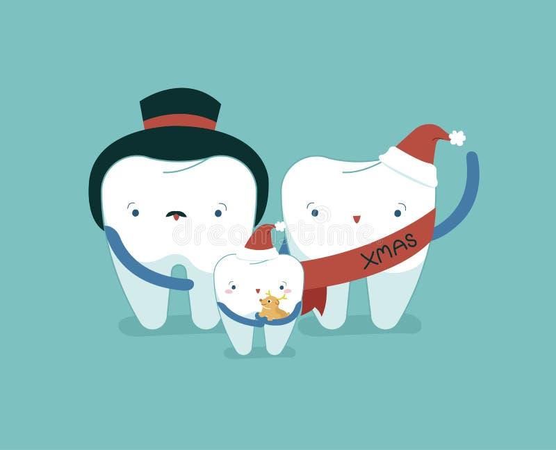 Familie tand op Kerstmisdag, tandconcept vector illustratie