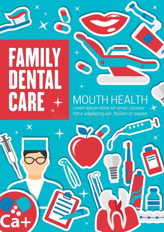 Familie tandzorg en kenmerkende kliniek vector illustratie