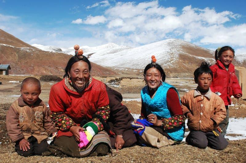 Familie in Tibet royalty-vrije stock afbeelding