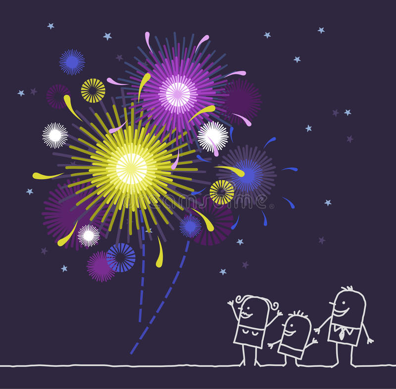 Familie u. Feuerwerk stock abbildung