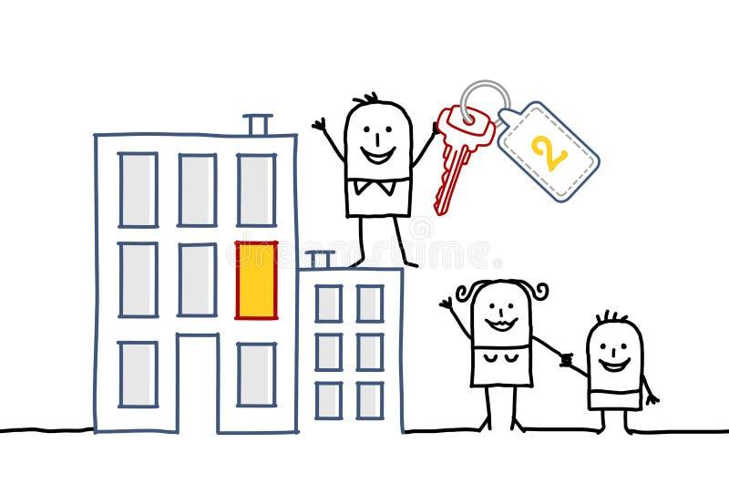 Familie u. neues Haus vektor abbildung