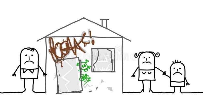 Familie u. unsicheres Haus lizenzfreie abbildung