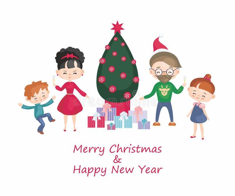 Familie um Weihnachtsbaum vektor abbildung