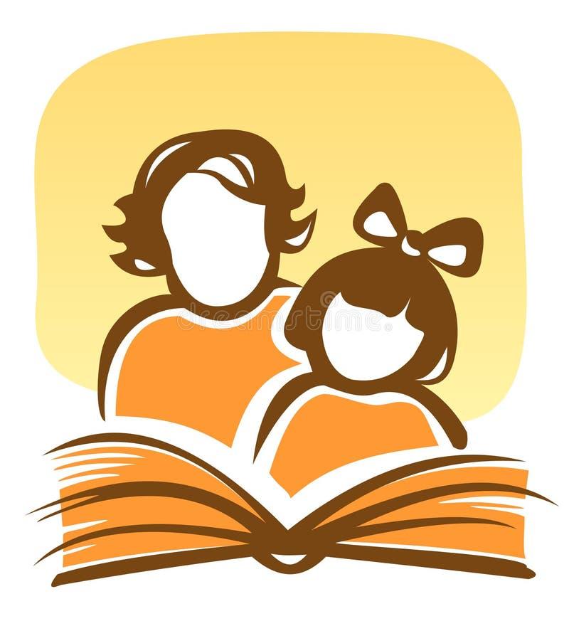 Familie und Buch stock abbildung