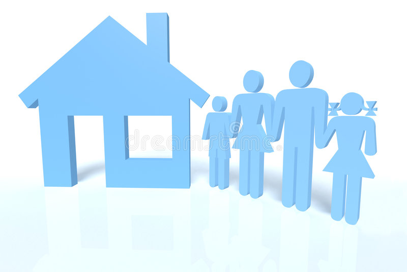 Familie und ein Haus lizenzfreie abbildung