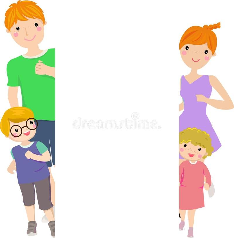 Familie und Feld lizenzfreie abbildung