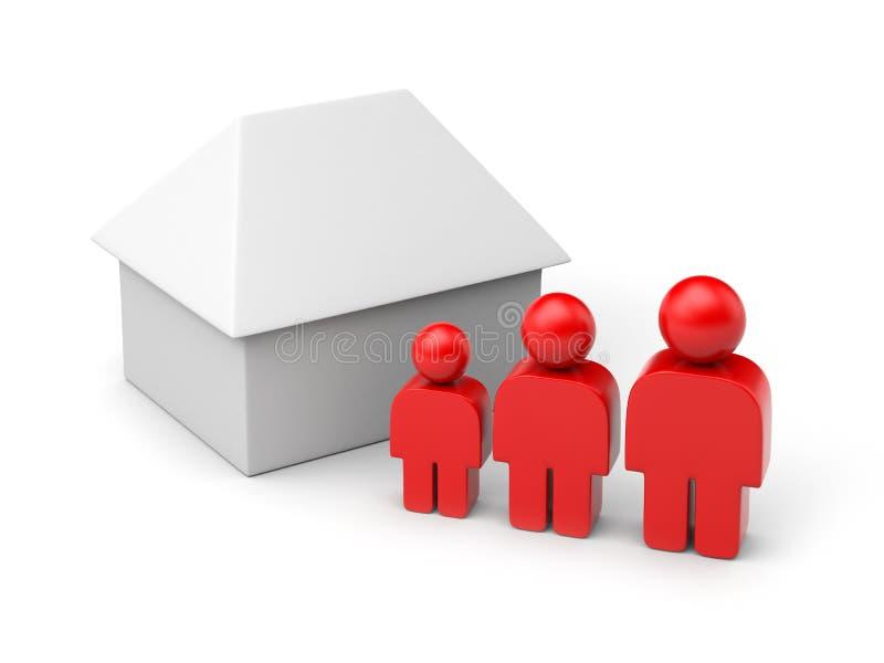 Familie und Haus in den einfachen Abbildungen lizenzfreie abbildung