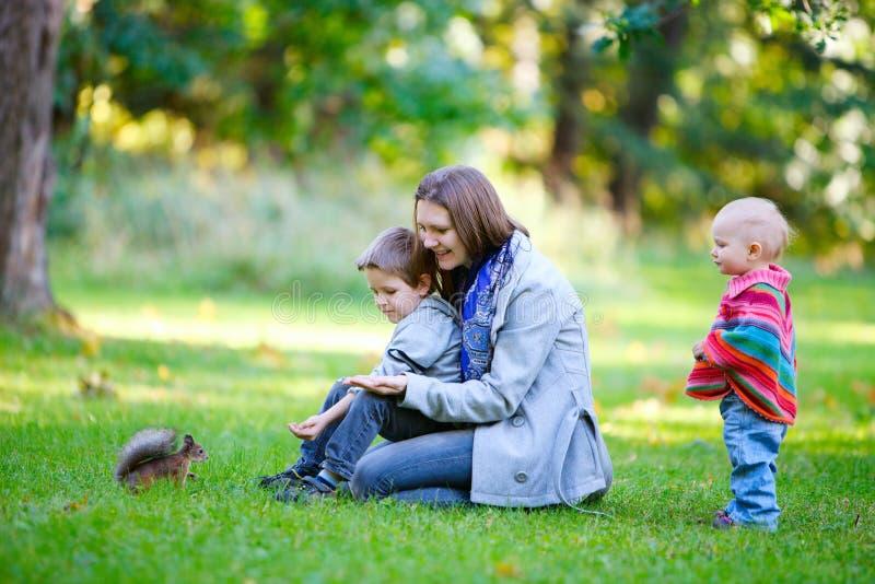 Familie und kleines Eichhörnchen im Park lizenzfreie stockfotografie