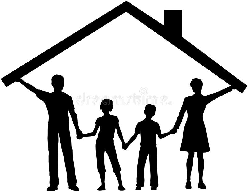 Familie unter Hauseinflußausgangsdach über Kindern lizenzfreie abbildung