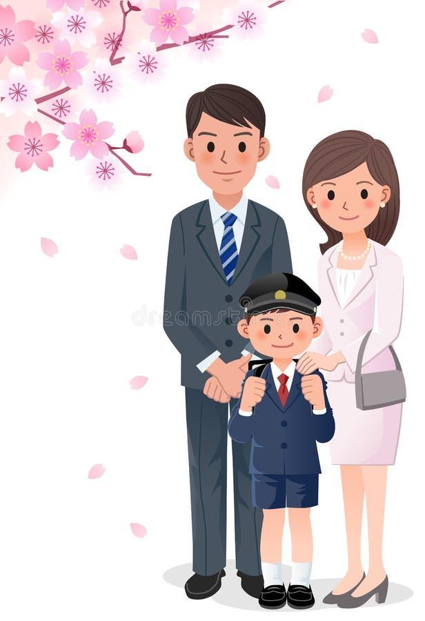 Familie unter Kirschblütenbäumen stock abbildung