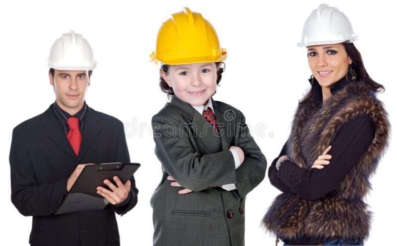 Familie van architecten stock afbeelding