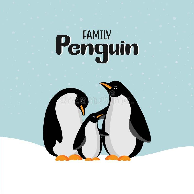 Familie van de beeldverhaal de gelukkige pinguïn vector illustratie