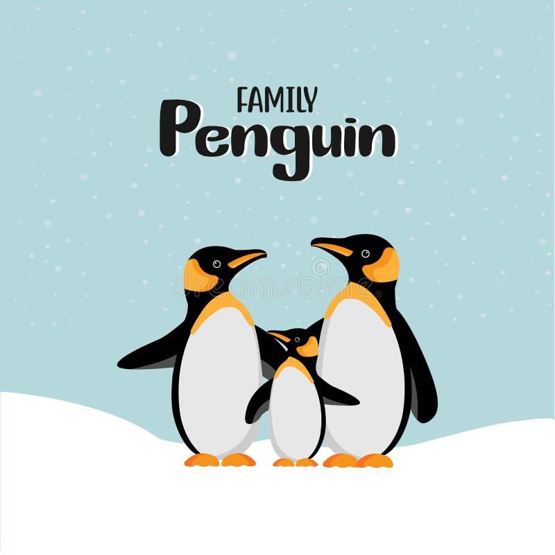 Familie van de beeldverhaal de gelukkige pinguïn stock illustratie