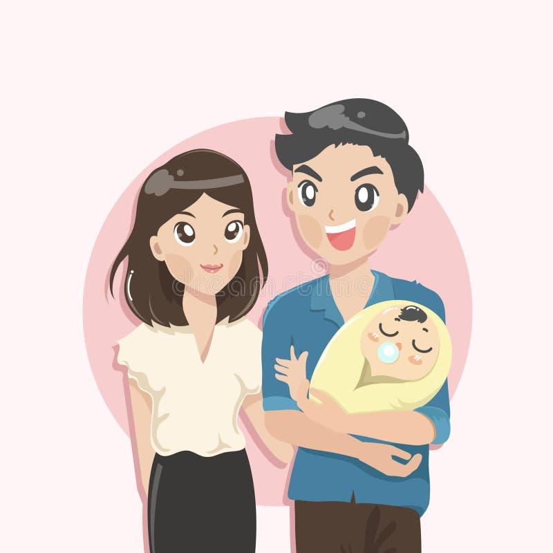 Familie van de groep van babyouders royalty-vrije illustratie