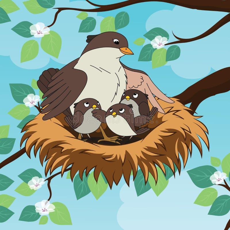 Familie van de vogel van de vogelsmoeder met haar twee babys in het nest vector illustratie