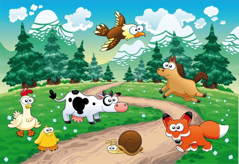 Familie van dieren met achtergrond. vector illustratie