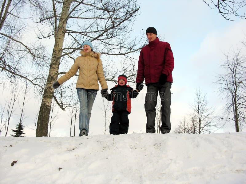 Familie van drie. de winter. stock fotografie