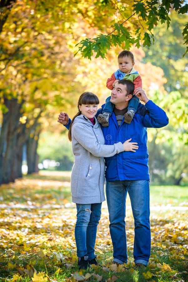 Familie van drie gangen in de de holdingshanden van het de herfstpark gelukkige vader dragende zoon met esdoornbladeren De moeder royalty-vrije stock foto's