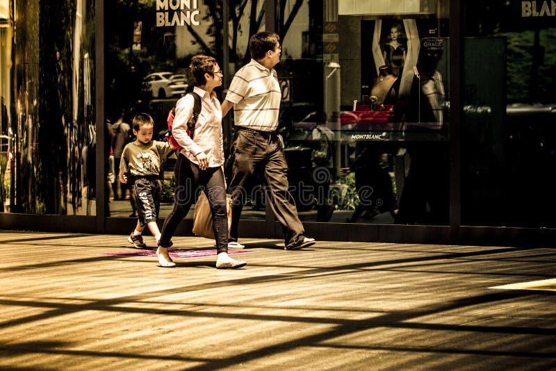Familie van drie gangen over Mont Blanc-detailhandel in het hoge eind winkelen stock afbeeldingen