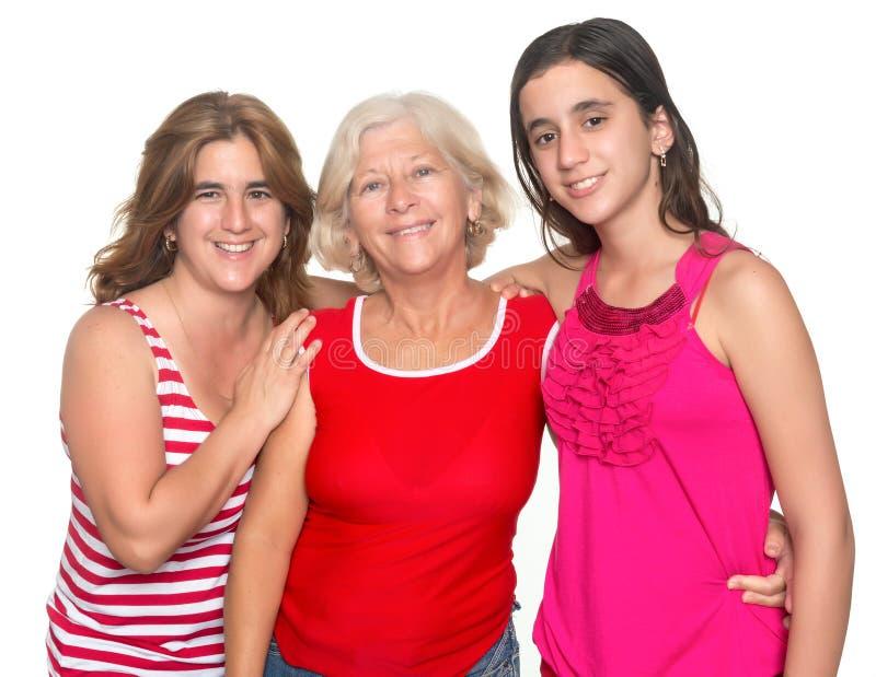 Familie van drie generaties van Spaanse vrouwen stock foto